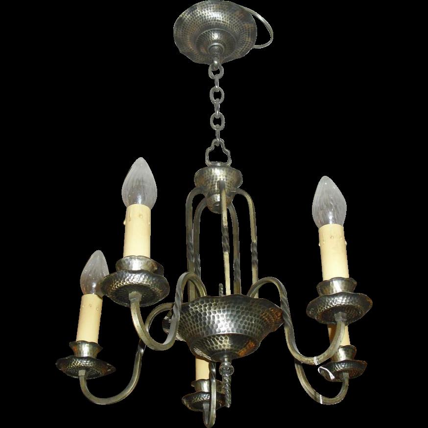 Tudor 5 Light Chandelier - Original Silver Plate over Brass