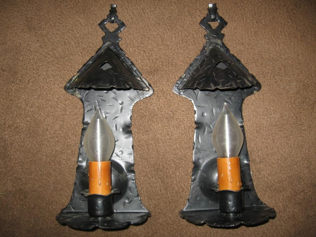 Traditional White Wall Lights : Spanish Colonial Iron Wall Sconce Lights from sherlocksantiquelights on Ruby Lane