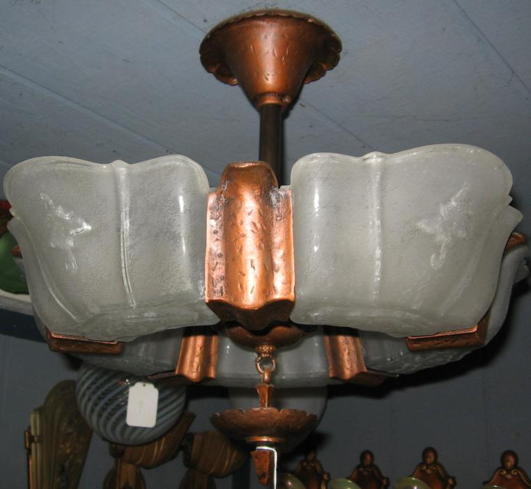 Art Deco 5 Light Slip Shade Flush Mount Light Fixture