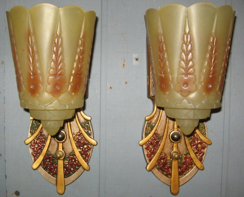 Art Deco Slip Shade Wall Sconces : Art Deco Slip Shade Wall Sconces - Lincoln- from rubylane-sold on Ruby Lane