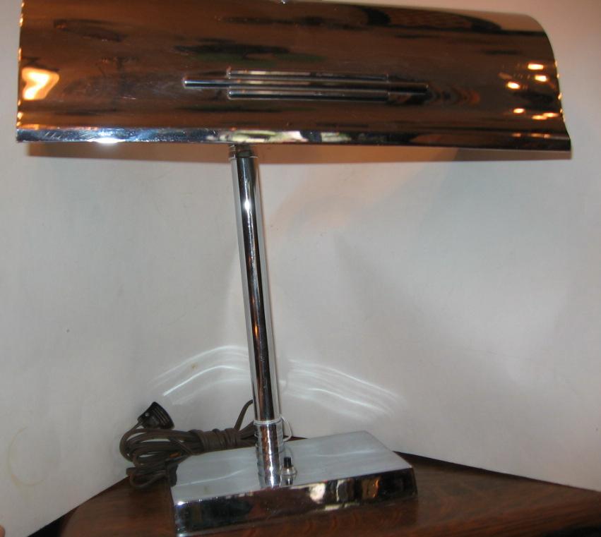 "Art Deco ""Machine Age"" Chrome Desk Lamp"