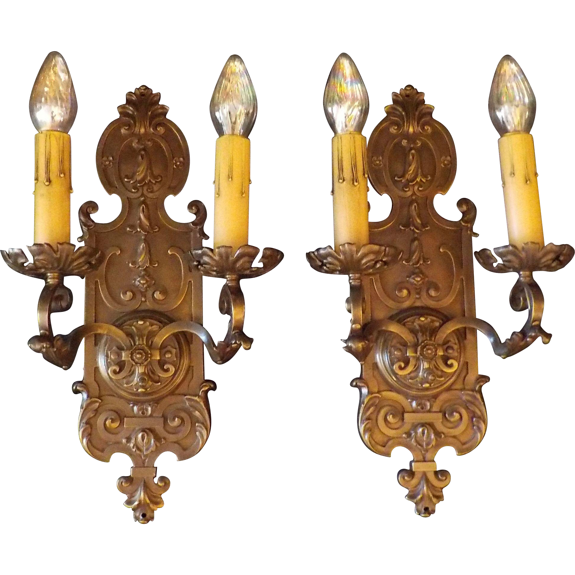 Large Cast Bronze Neoclassical Classic Wall Sconces