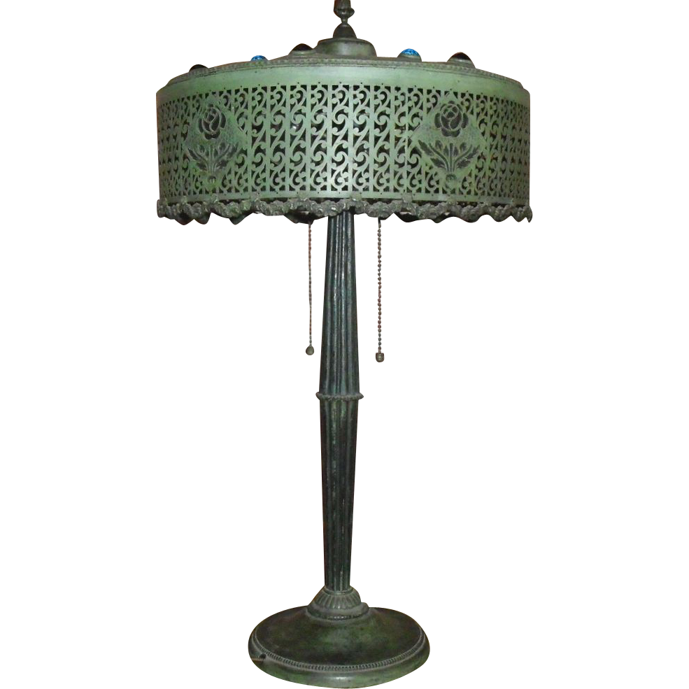 Jeweled Arts & Crafts Table Lamp