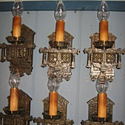 Tudor Cast Brass Wall Sconces - 3 pairs available