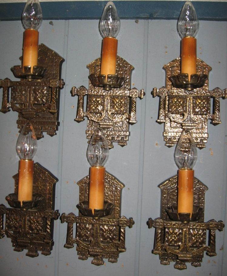 Tudor Cast Brass Wall Sconces - 2 pair available
