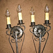 Spanish Revival Double Candle Iron Wall Sconces