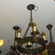 Spanish Revival 4 Light Chandelier - Iron with Polychrome Finish