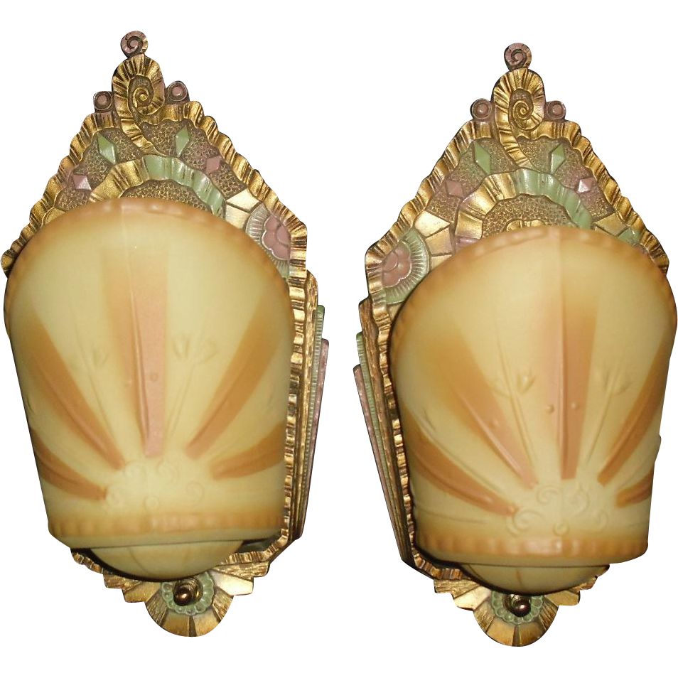 Art Deco Slip Shade Wall Sconces - Beardslee-- 3 pair available