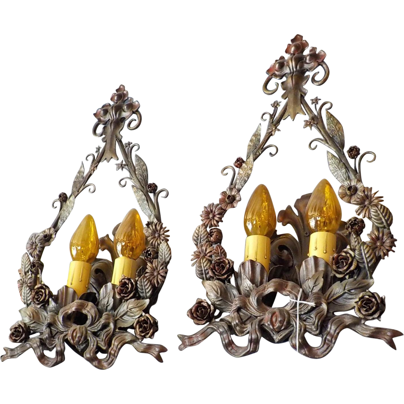 Spanish Revival Wall Sconces - Iron with Original Polychrome Finish