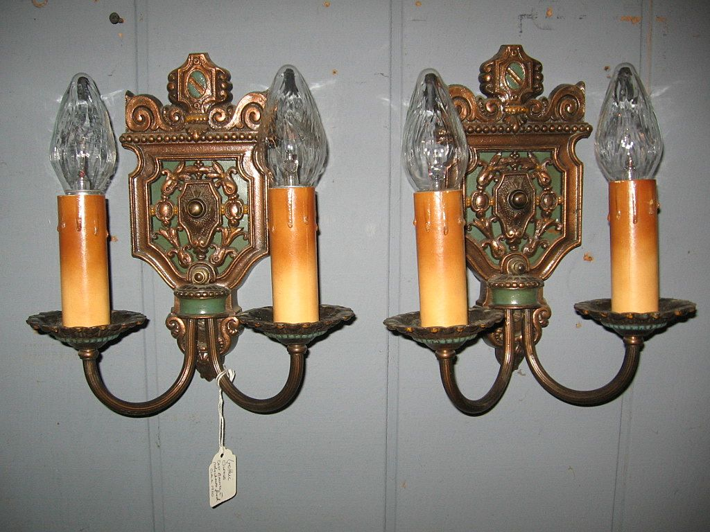 Cast  Bronze Gothic Wall Sconces with Original Polychrome Finish