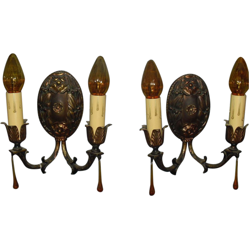 Classic Brass Wall Sconces : Classic Spanish Revival Cast Brass Wall Sconces- 2 pair available from sherlocksantiquelights on ...