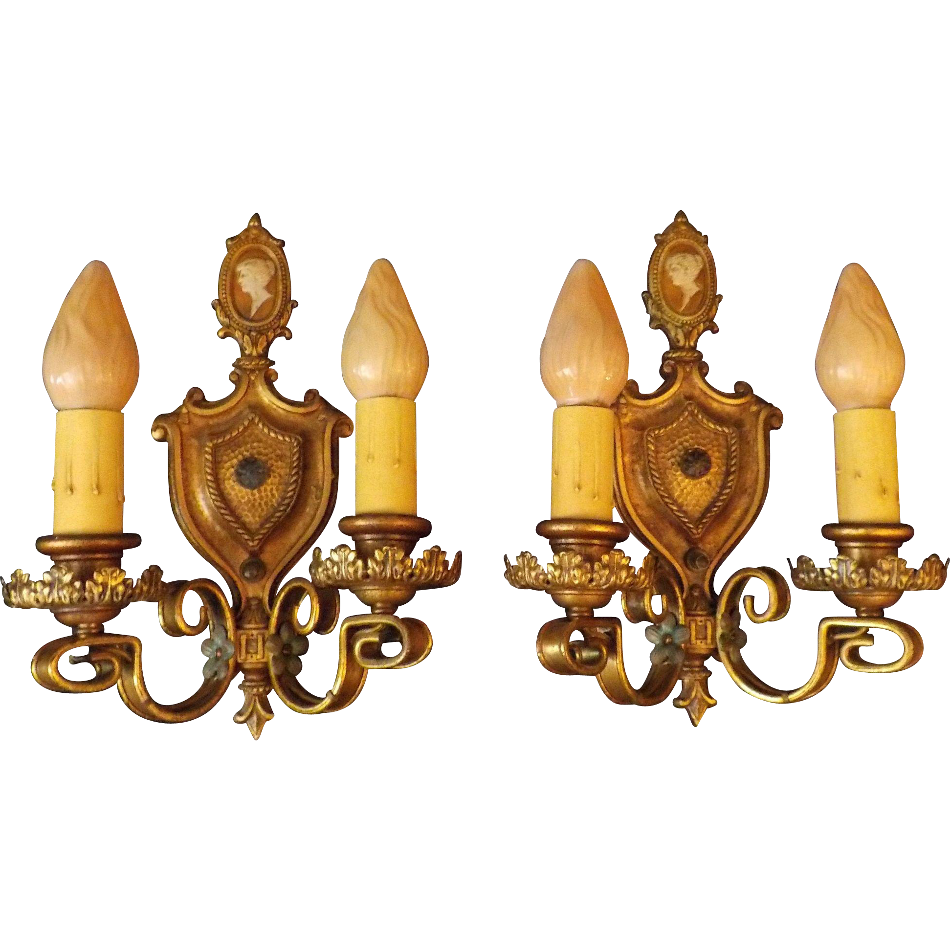 Neoclassical Sconces with Cameos and Crystals