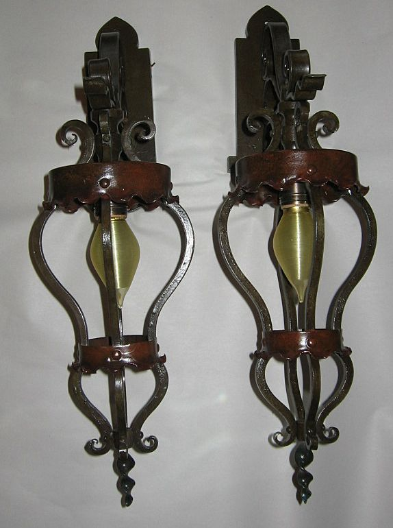 Large Spanish Revival Iron & Brass Wall Sconces