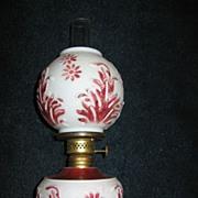 Miniature Kerosene Oil Lamp with Embossed Milk Glass Base and Shade