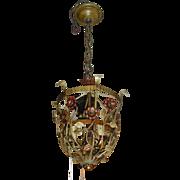 Spanish Revival 3 Light Flower Basket Pendant