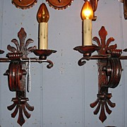 Large Spanish Revival Iron Wall Sconces w Original Polychrome Finish