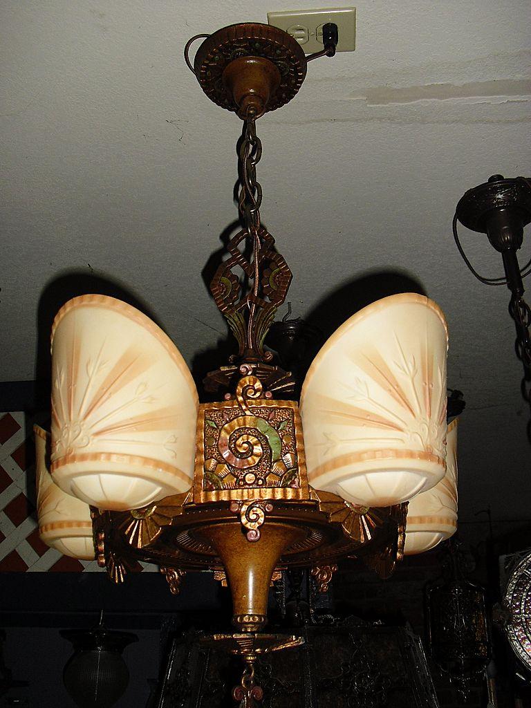 Beardslee Art Deco 5 Light Slip Shade Chandelier from – Art Deco Chandelier Lighting