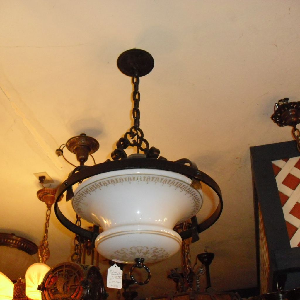 Spanish Revival Decorated Iron Pendant Light w School House Globe