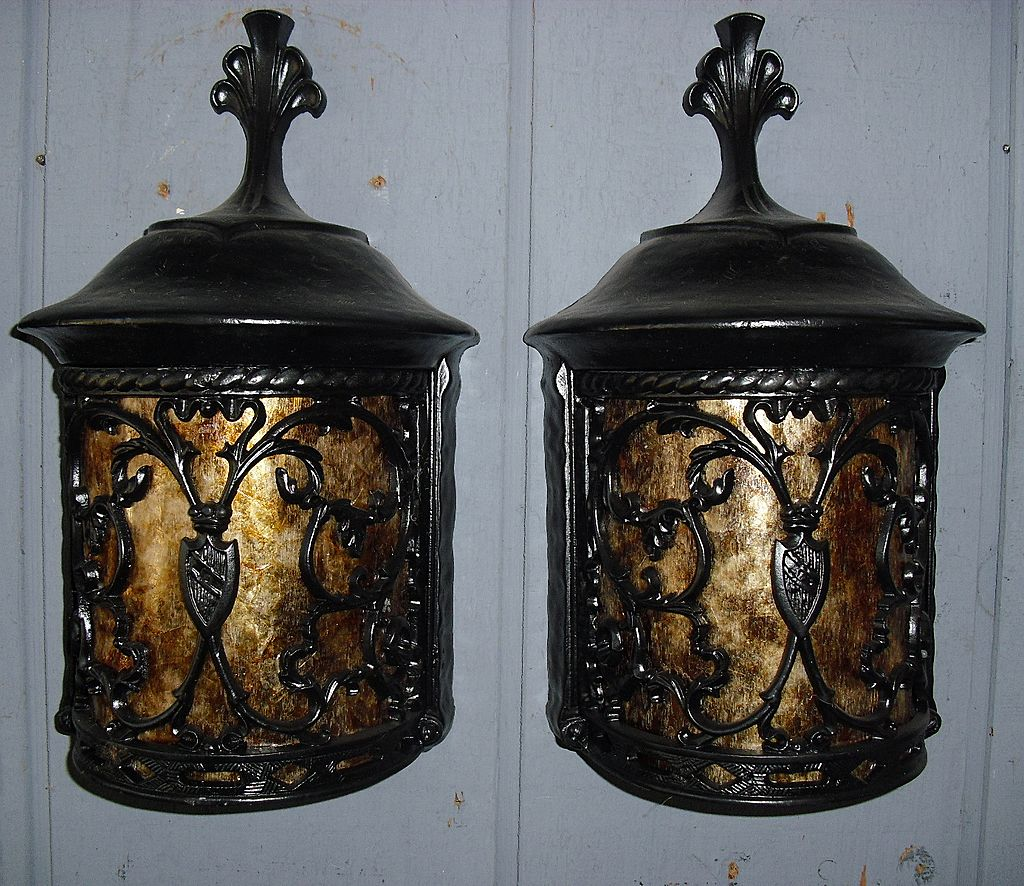 Spanish revival porch light fixture with mica panel 5 for Spanish revival lighting fixtures