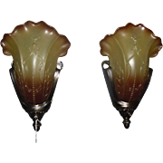Art Deco Bronze Slip Shade Wall Sconces - 5 available