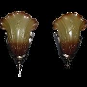 Art Deco Bronze Slip Shade Wall Sconces - 5 available