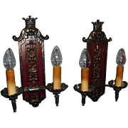 Bronze Tudor Double Candle Wall Sconces w Crown - 2 pairs available