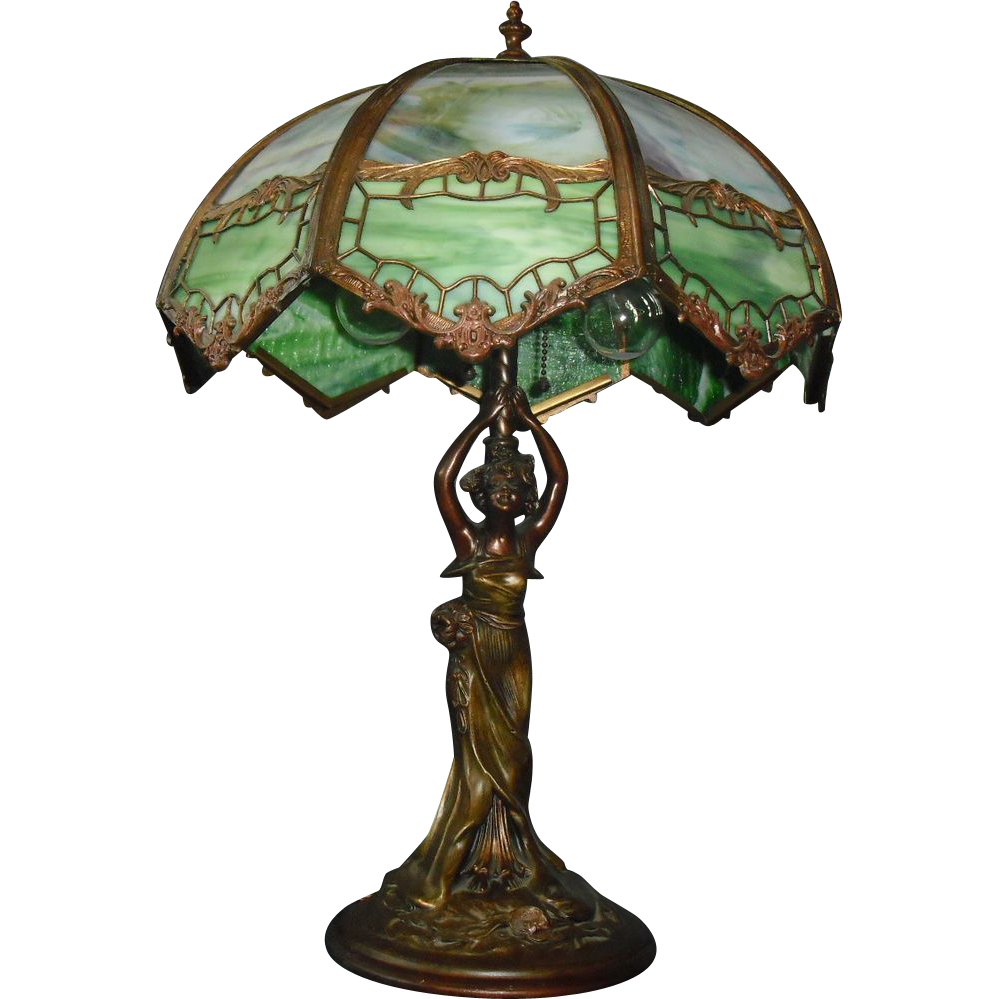 Art Nouveau Figural Lady Table Lamp w Bent Panel Slag Glass Shade