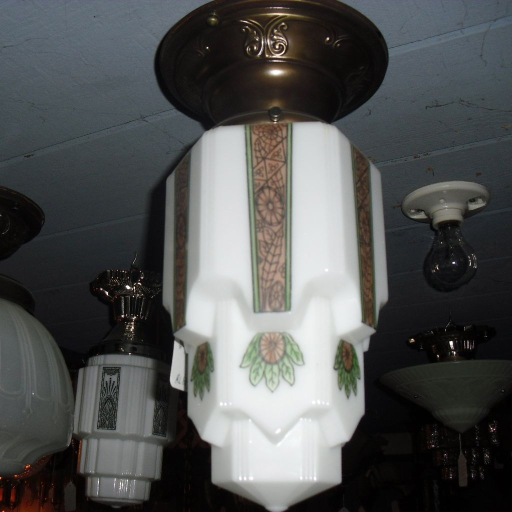 Art Deco Decorated Stylized Flush Mount Ceiling Light