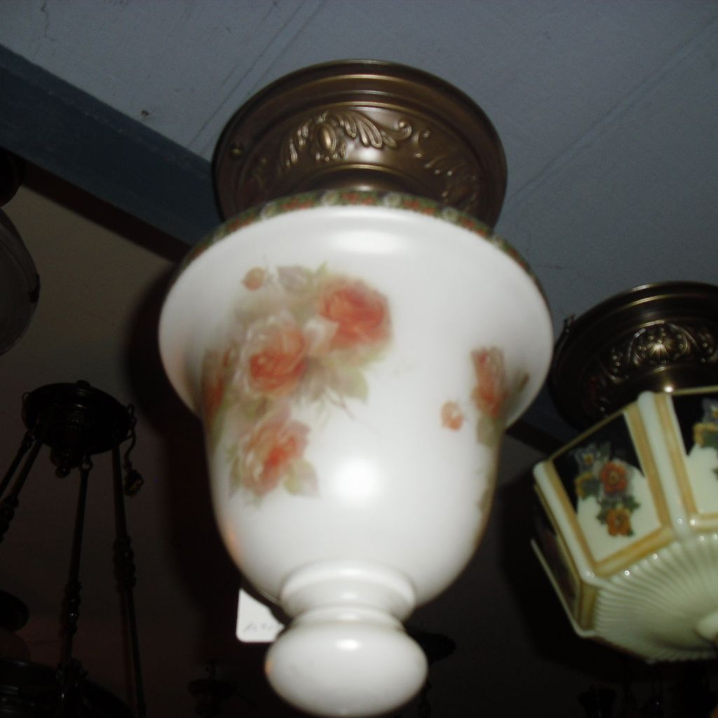 Flush Mount Ceiling Light Fixture w Painted Glass Shade