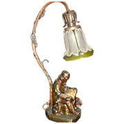 Armor Bronze Figural Desk Lamp w Art Nouveau Glass Shade