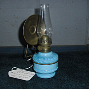 Miniature Kerosene Oil Lamp - Embossed Blue Milk Glass & Brass Hanger
