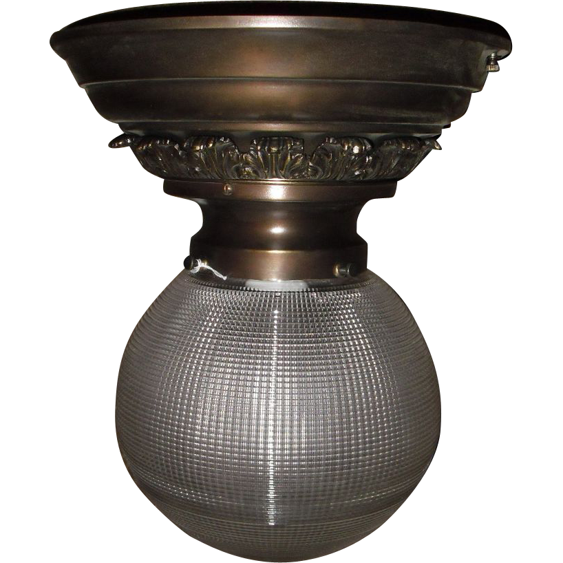 "Holophane 8"" Ball Shade Ceiling Light in Fancy Brass Fixture - 2 available"