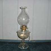 EAPG Burne Pattern Kerosene Oil Lamp w Antique Chimney