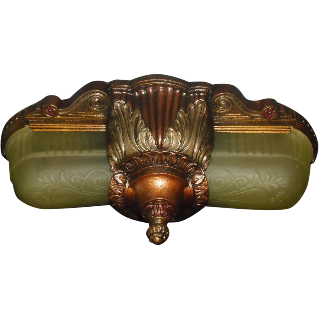 art deco slip shade flush mount ceiling light fixture or wall