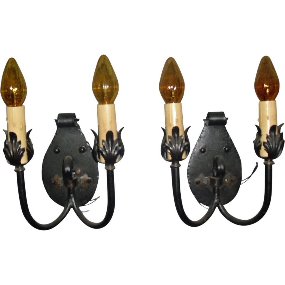 Set of 4 Spanish Colonial / Revival Iron Double Candle Wall Sconces