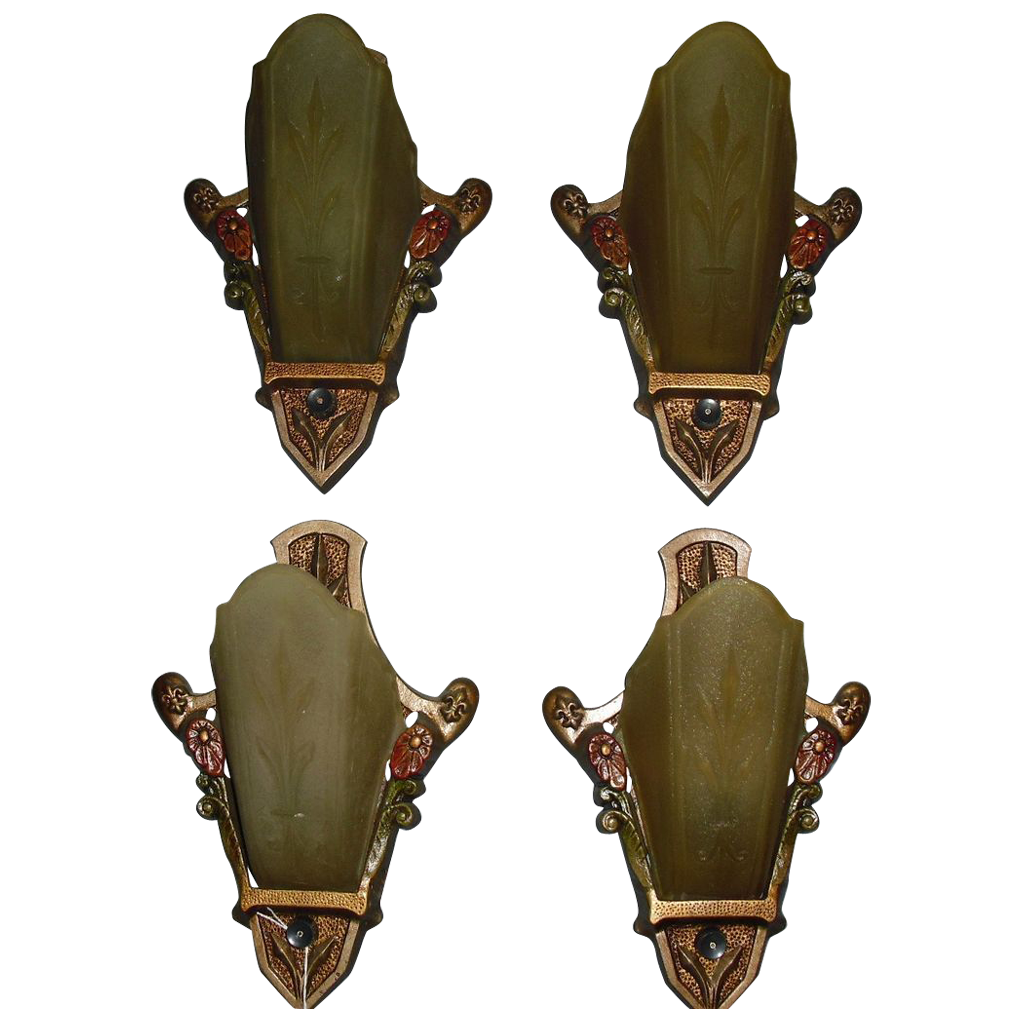 Art Deco Slip Shade Wall Sconces - 2 Pairs Available
