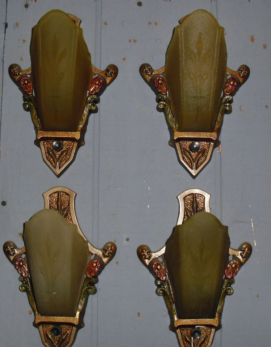 Art Deco Wall Sconces art deco slip shade wall sconces - 2 pairs available from