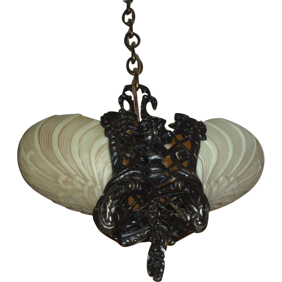 Cast Bronze Art Deco Slip Shade Pendant Light - Midwest Lighting