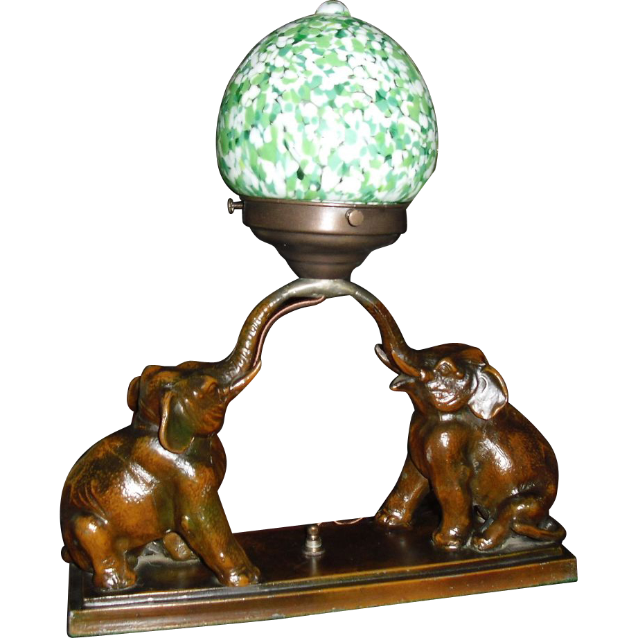 Art Deco Elephant Novelty Lamp w End of Day Shade