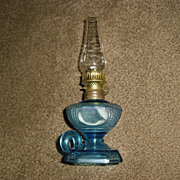 Miniature Kerosene Oil Finger Lamp - Embossed Blue Glass