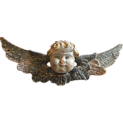 Antique Polychrome Carved Wood Winged Angel / Cherub