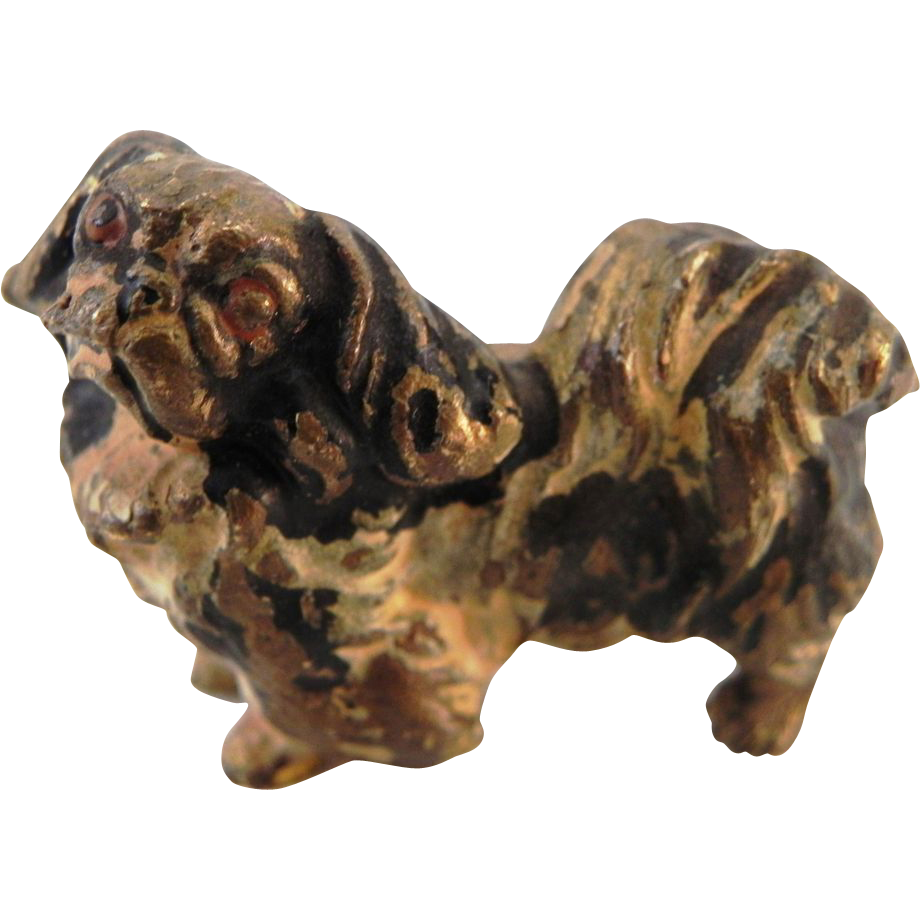 Miniature Antique Austrian Cold Painted Bronze Pekingese Dog Figure