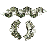 Vintage Hattie Carnegie Smokey Gray & Rhinestone Earrings & Brooch / Pin