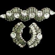 Vintage Hattie Carnegie Smokey Gray & Rhinestone Earrings & Brooch / Pin