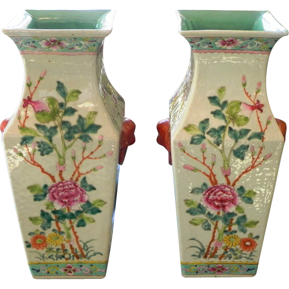 Pair  Antique Chinese Porcelain Famille Rose Square Vases