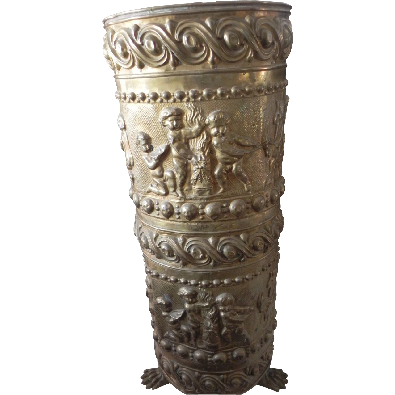 Antique French Repousse Brass Umbrella Stand with Cherubs