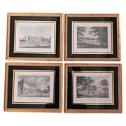 Set 4 Antique English Architectural Engravings in Eglomise Gilt Frames