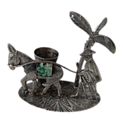 Vintage Columbian 0900 Silver Man & Burro Toothpick Holder w/ Raw Emerald Chips