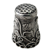 Vintage Taxco Mexico Sterling Thimble w/ Scrolls & Foliage Relief ~ EDH Mark
