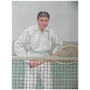 Original Vanity Fair / SPY Print ~ Tennis ~ Thrice Champion ~ H.L. Doherty  -1904